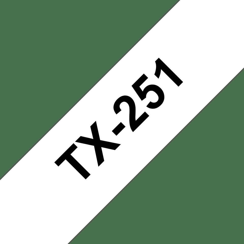Originální kazeta s páskou Brother TX-251 - černý tisk na bílé, šířka 24 mm