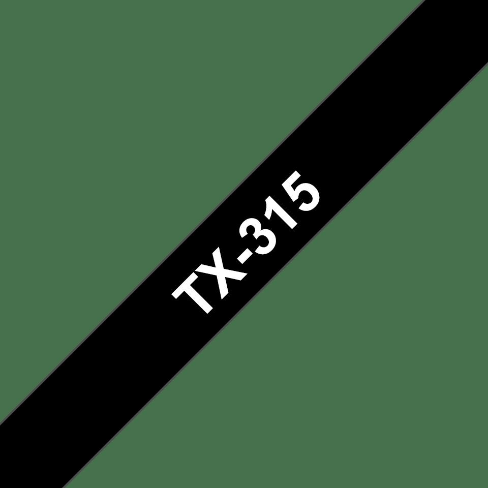 Originální pásková kazeta pro tisk štítků Brother TX315 – bílý tisk na černém podkladu, šířka 6 mm