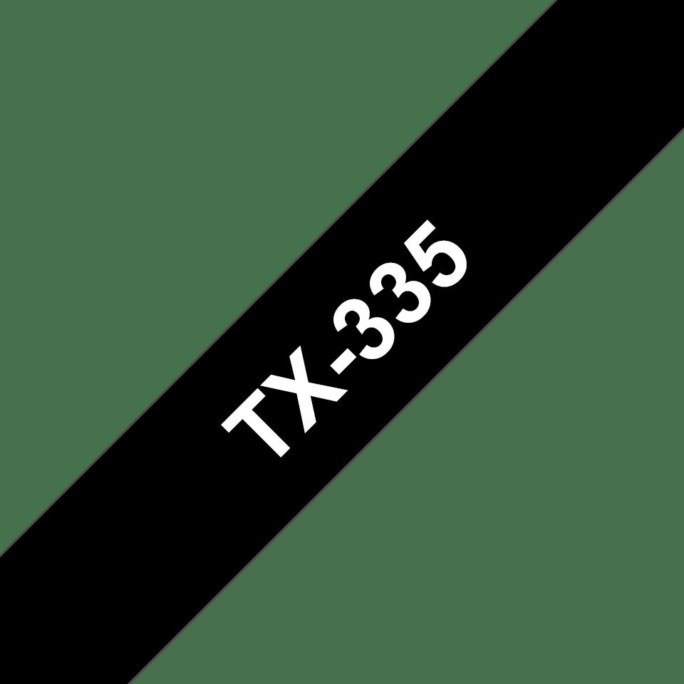 Originální pásková kazeta pro tisk štítků Brother TX335 – bílý tisk na černém podkladu, šířka 12 mm