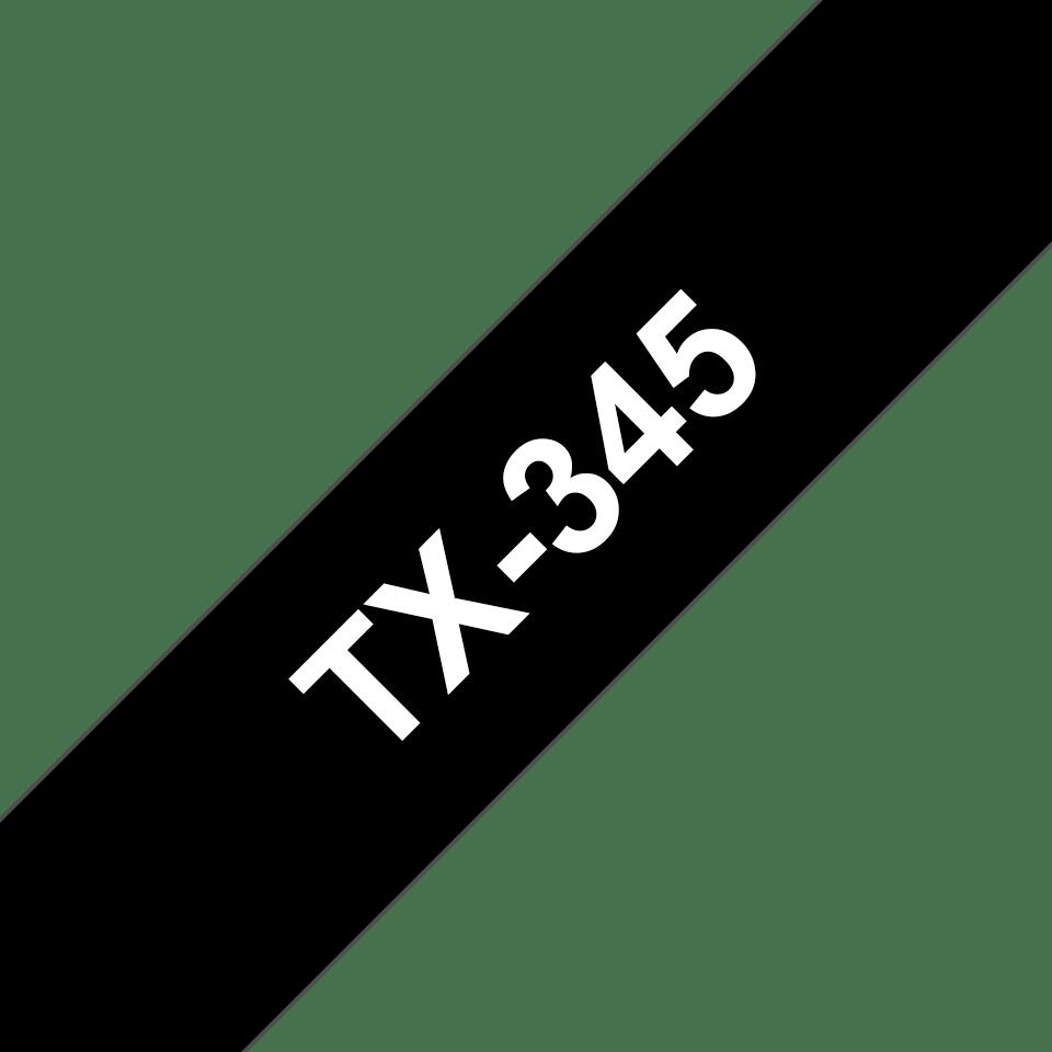 Originální pásková kazeta pro tisk štítků Brother TX345 – bílý tisk na černém podkladu, šířka 18 mm