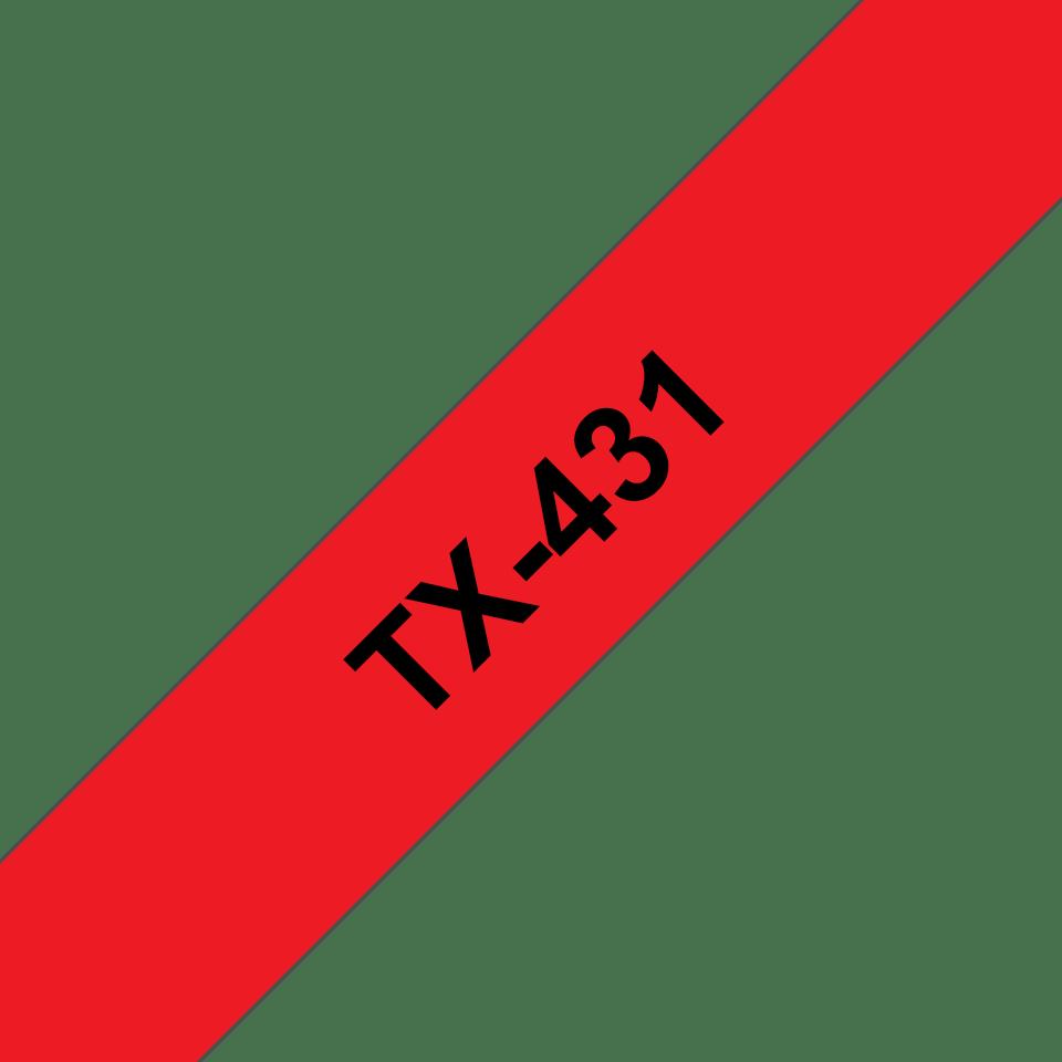 Originální pásková kazeta pro tisk štítků Brother TX431 – černý tisk na červeném podkladu, šířka 12 mm