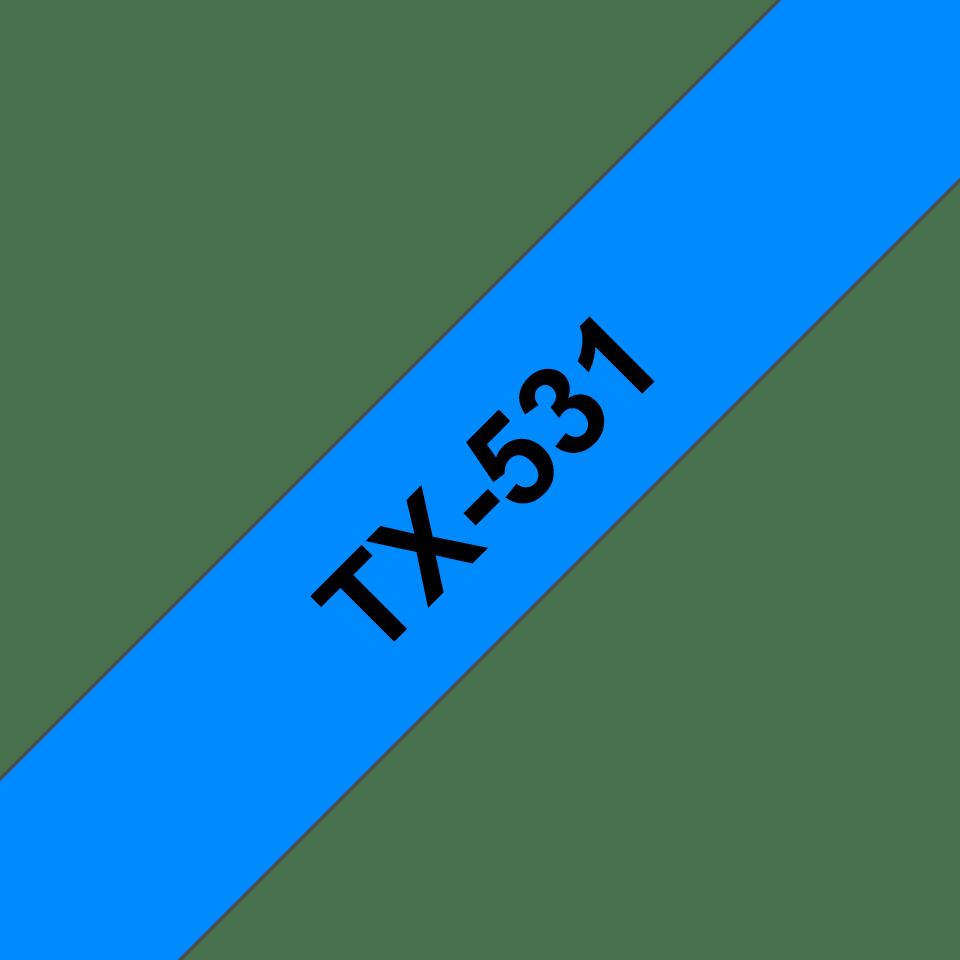 Originální pásková kazeta pro tisk štítků Brother TX531 – černý tisk na modrém podkladu, šířka 12 mm