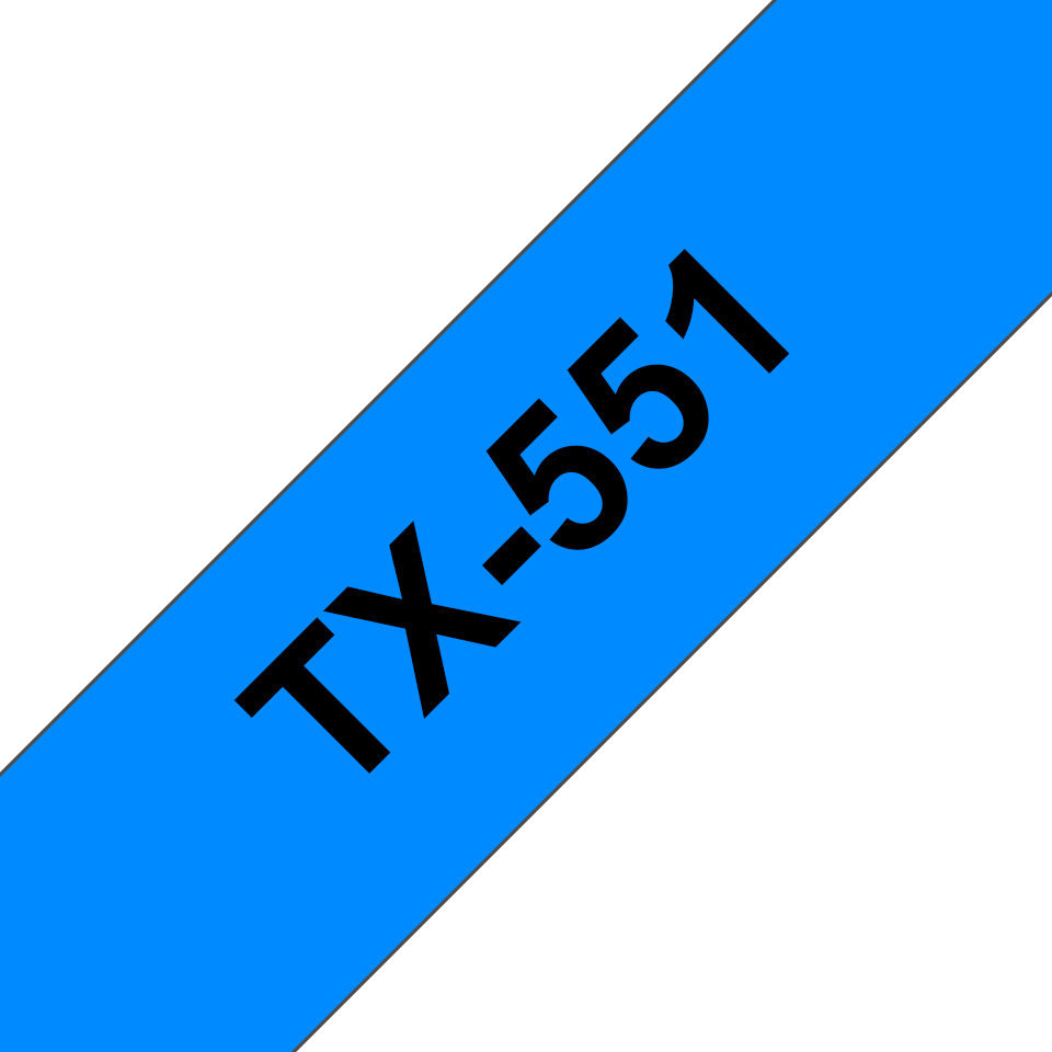 Originální pásková kazeta pro tisk štítků Brother TX551 – černý tisk na modrém podkladu, šířka 24 mm