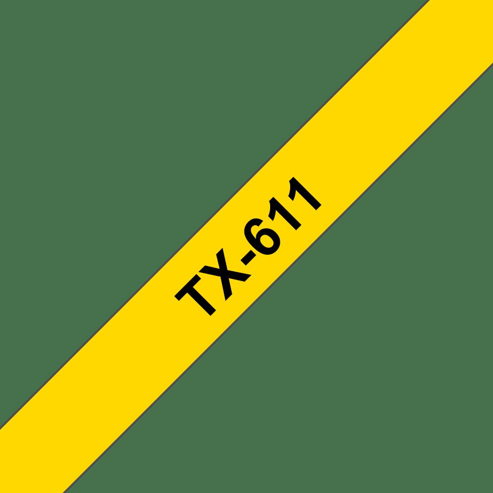 Originální pásková kazeta pro tisk štítků Brother TX611 – černý tisk na žlutém podkladu, šířka 6 mm