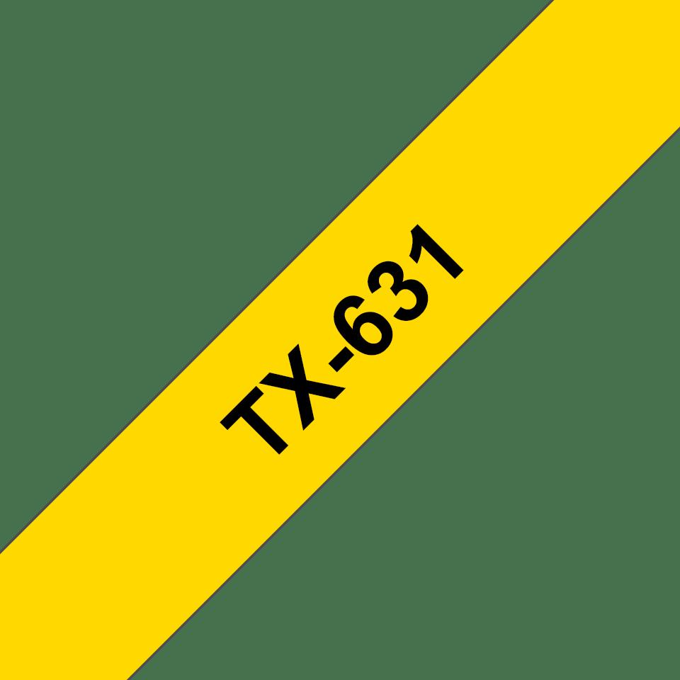 Originální pásková kazeta pro tisk štítků Brother TX631 – černý tisk na žlutém podkladu, šířka 12 mm