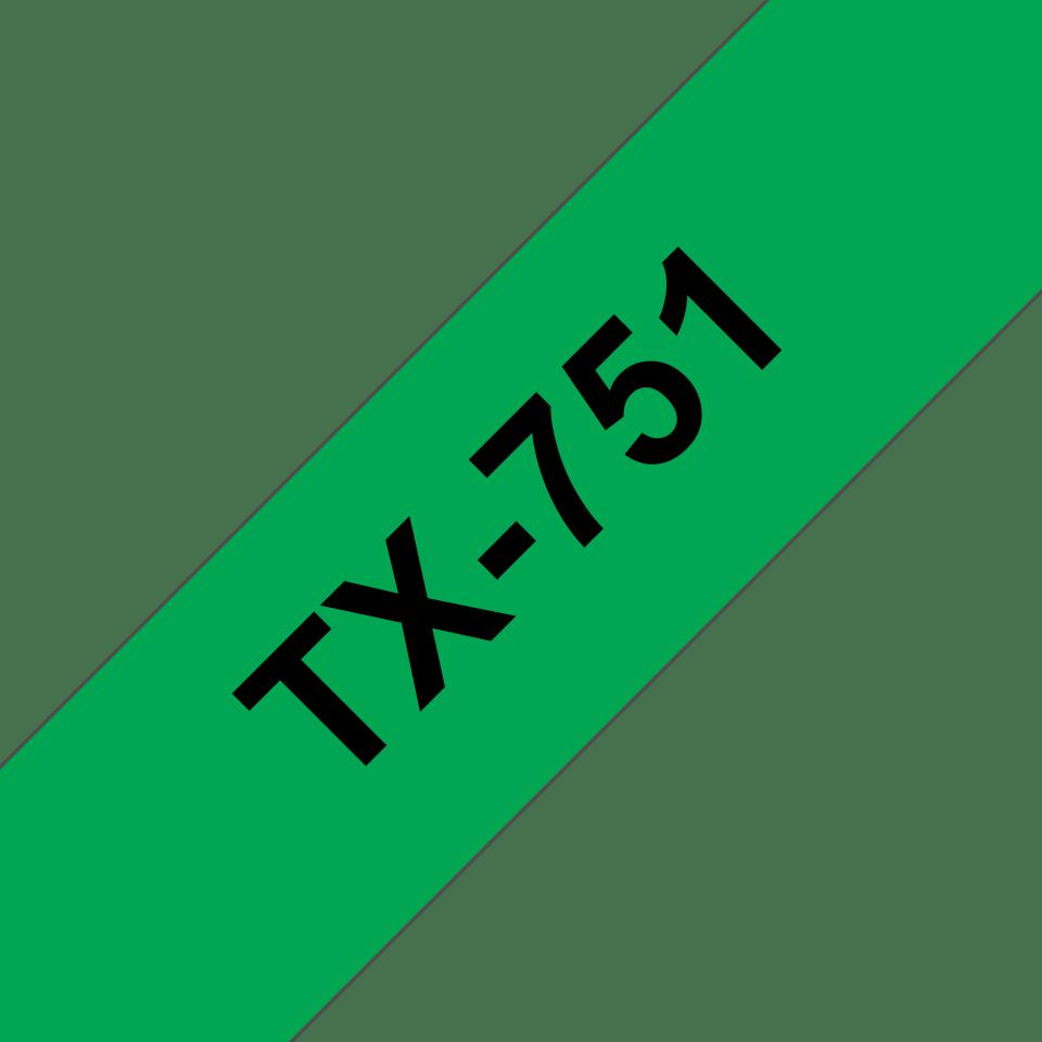 Originální pásková kazeta pro tisk štítků Brother TX751 – černý tisk na zeleném podkladu, šířka 24 mm
