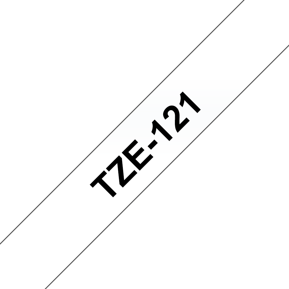 Originální kazeta s páskou Brother TZe-121 - černý tisk na průsvitné, šířka 9 mm
