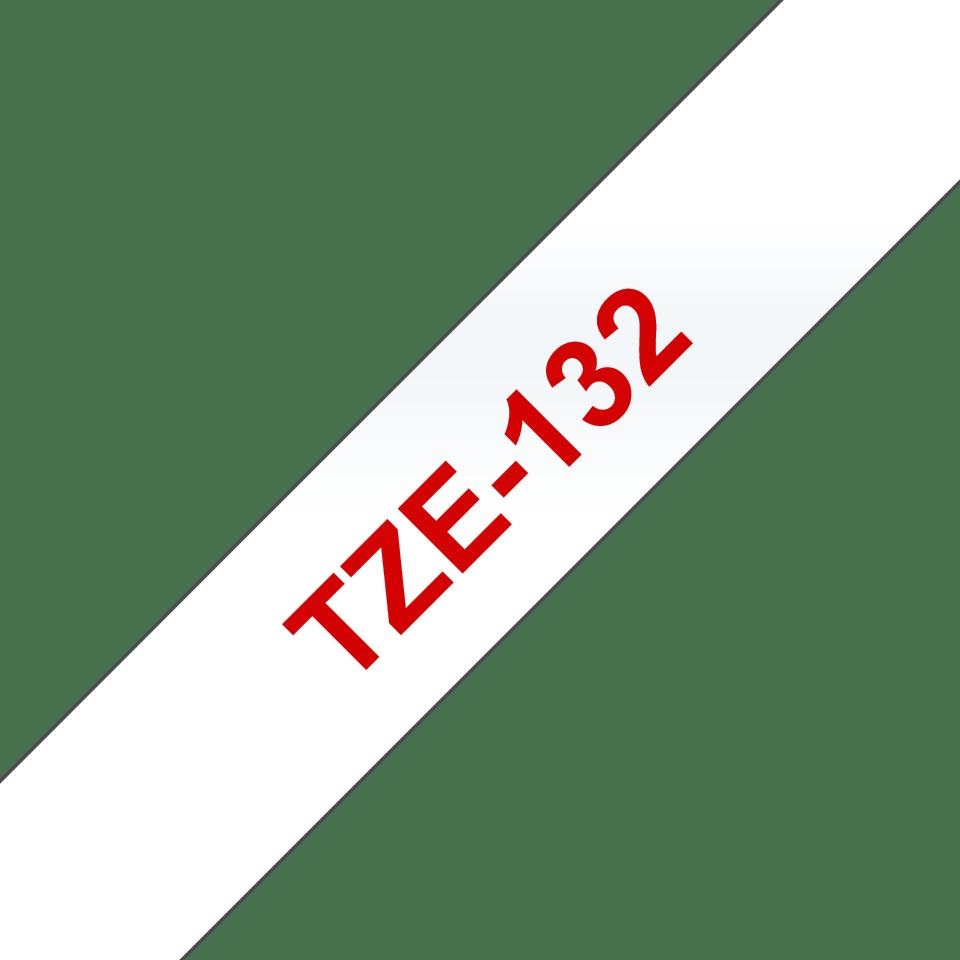 Originální kazeta s páskou Brother TZe-132 - červený tisk na průsvitné, šířka 12 mm