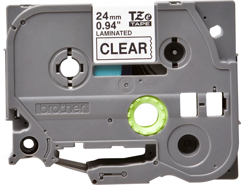 Originální kazeta s páskou Brother TZe-151 - černý tisk na průsvitné, šířka 24 mm