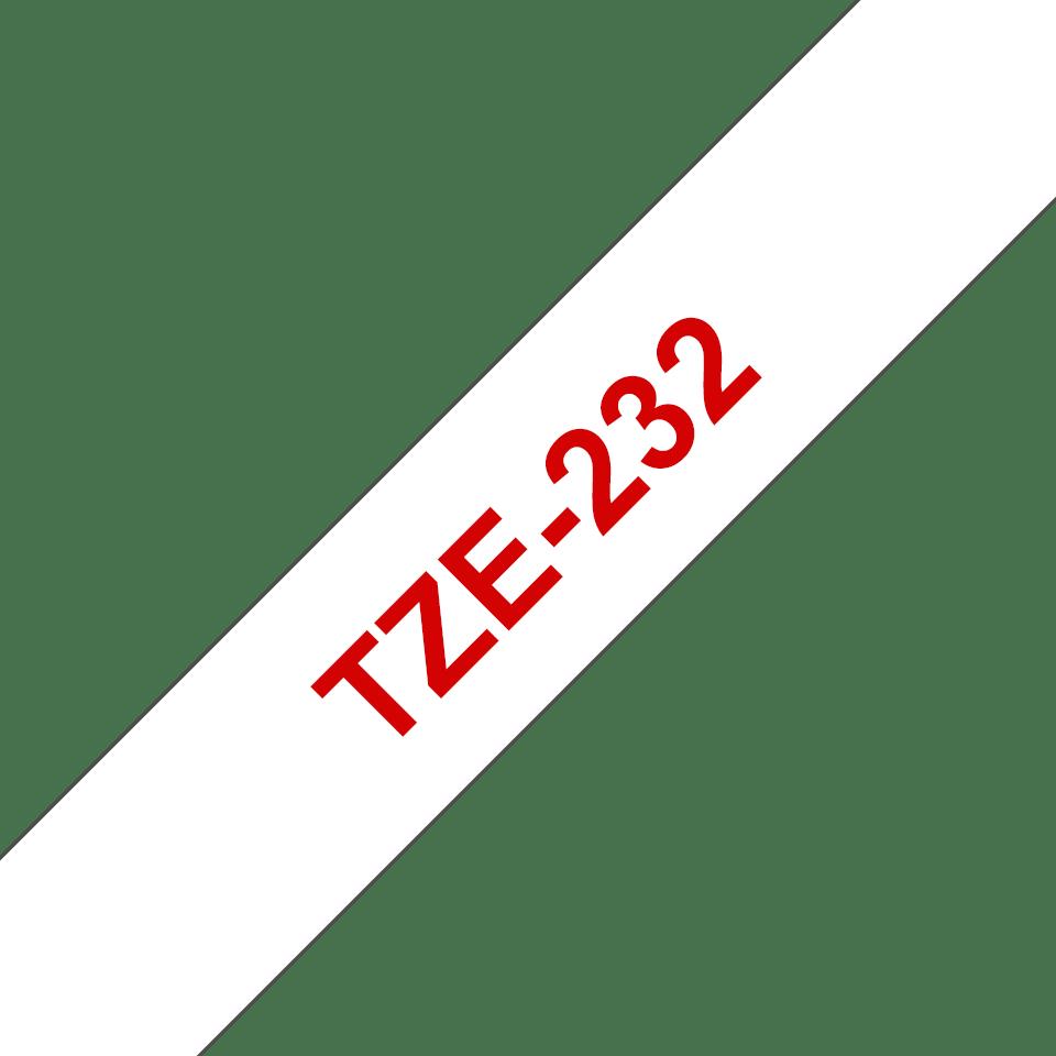 Originální kazeta s páskou Brother TZe-232 - červený tisk na bílé, šířka 12 mm<br>