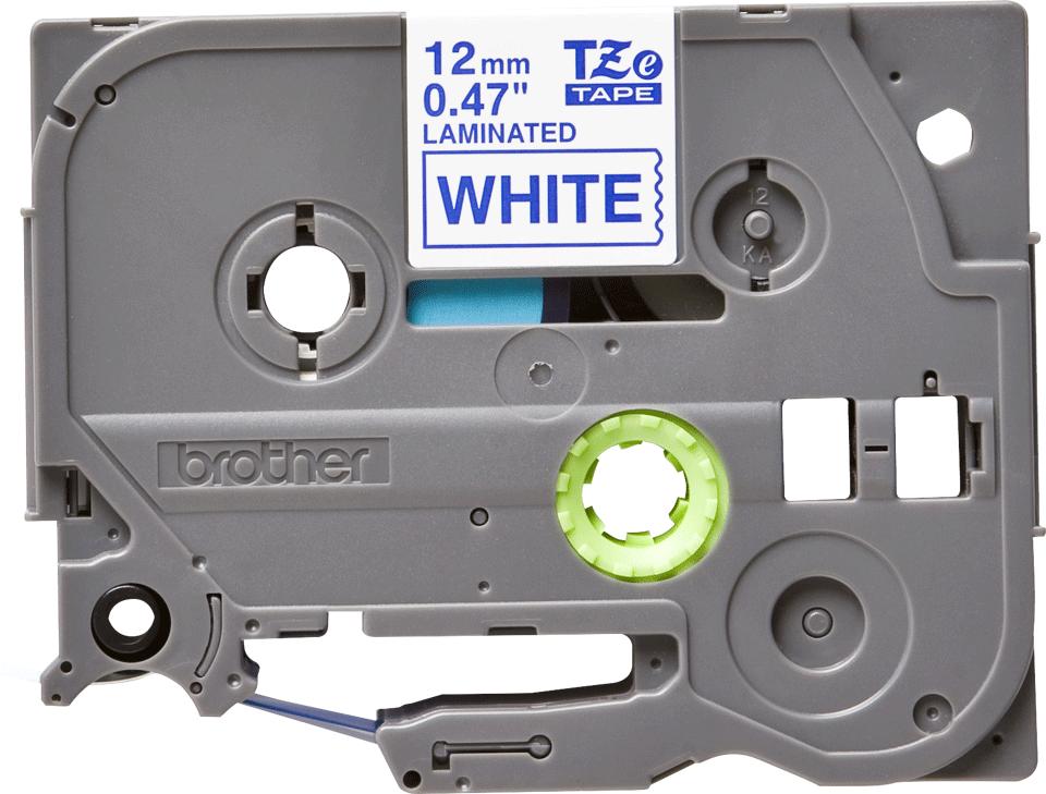 Originální kazeta s páskou Brother TZe-233 - modrý tisk na bílé, šířka 12 mm