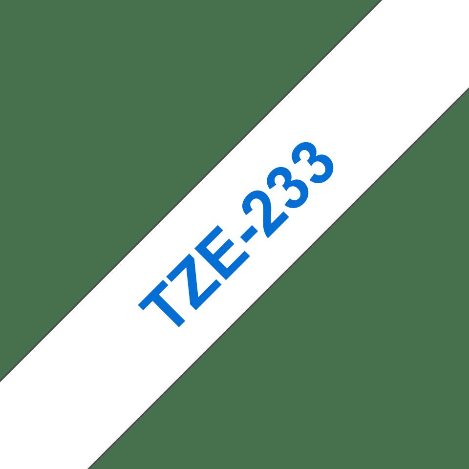 Originální kazeta s páskou Brother TZe-233 - modrý tisk na bílé, šířka 12 mm 3
