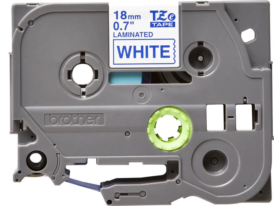 Originální kazeta s páskou Brother TZe-243 - modrý tisk na bílé, šířka 18 mm