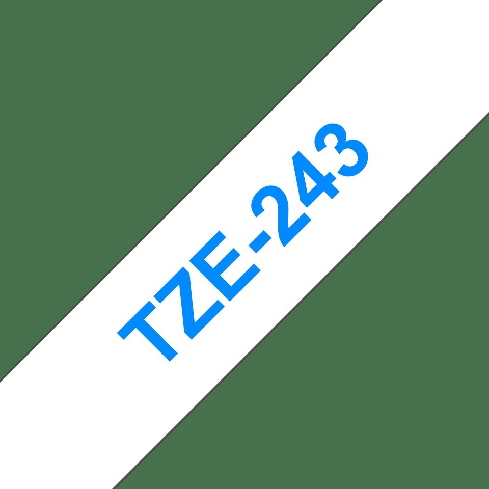 Originální kazeta s páskou Brother TZe-243 - modrý tisk na bílé, šířka 18 mm 3
