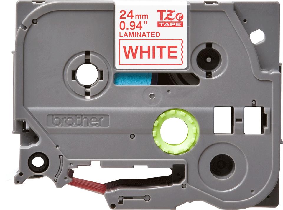 Originální kazeta s páskou Brother TZe-252 - červený tisk na bílé, šířka 24 mm