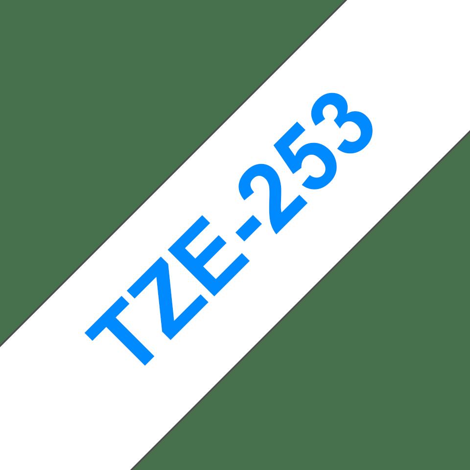 Originální kazeta s páskou Brother TZe-253 - modrý tisk na bílé, šířka 24 mm