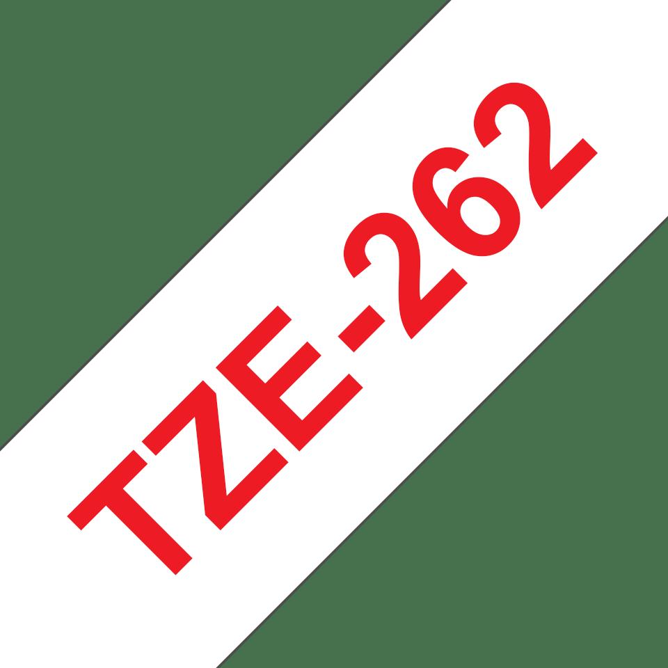 Originální kazeta s páskou Brother TZe-262 - červený tisk na bílé, šířka 36 mm