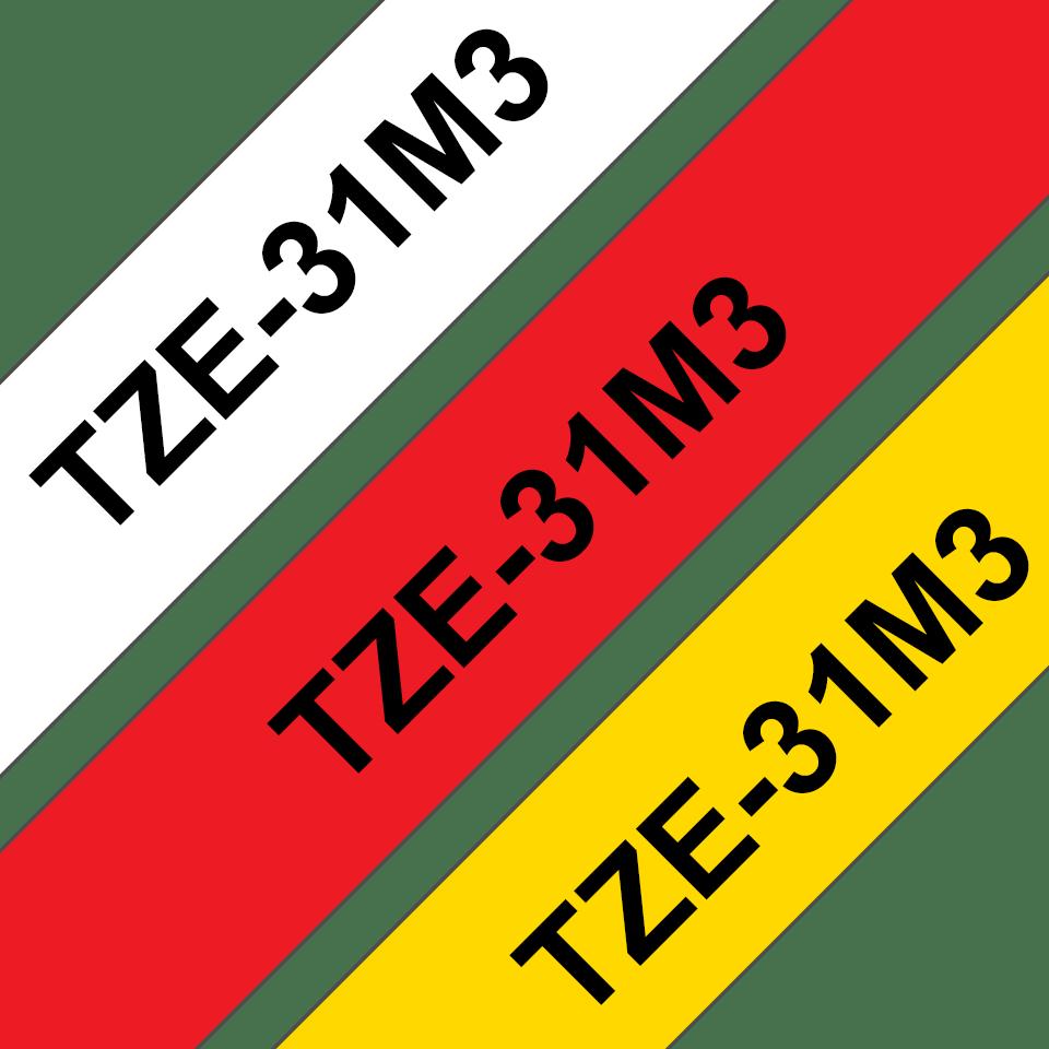 Originální kazety s páskou Brother TZe-31M3 - černá na červené, bílé a žluté, šířka 12 mm 3