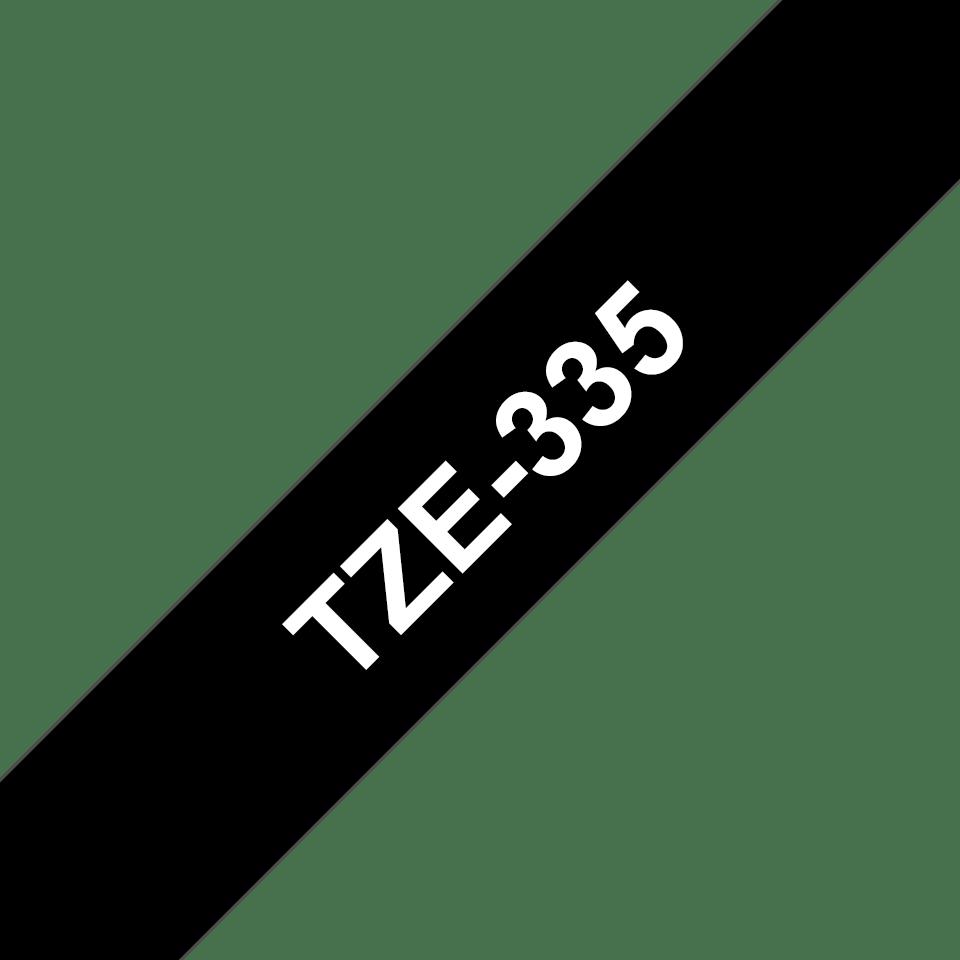 Originální páska Brother TZe335 pro tisk štítků – bílý tisk na černém podkladu, šířka 12 mm 3