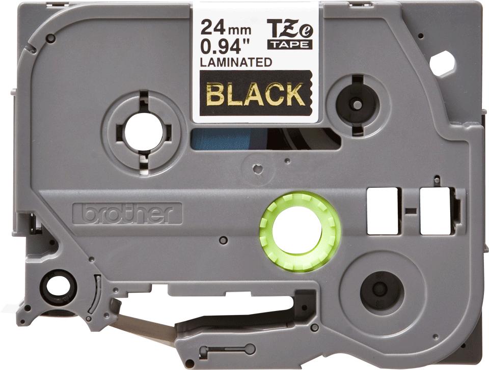 Originální kazeta s páskou Brother TZe-354 - zlatý tisk na černé, šířka 24 mm