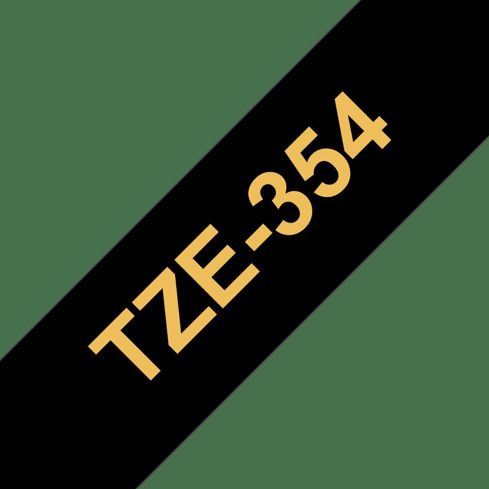 Originální kazeta s páskou Brother TZe-354 - zlatý tisk na černé, šířka 24 mm 3