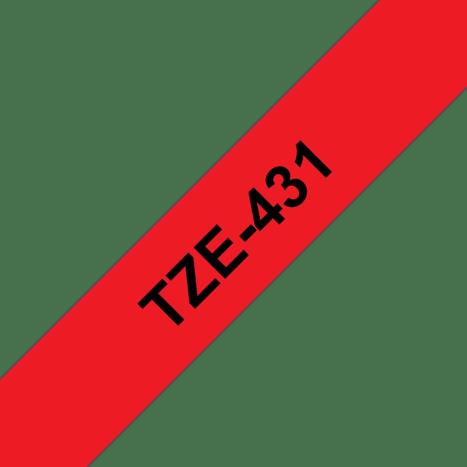 Originální kazeta s páskou Brother TZe-431 - černý tisk na červené, šířka 12 mm 3