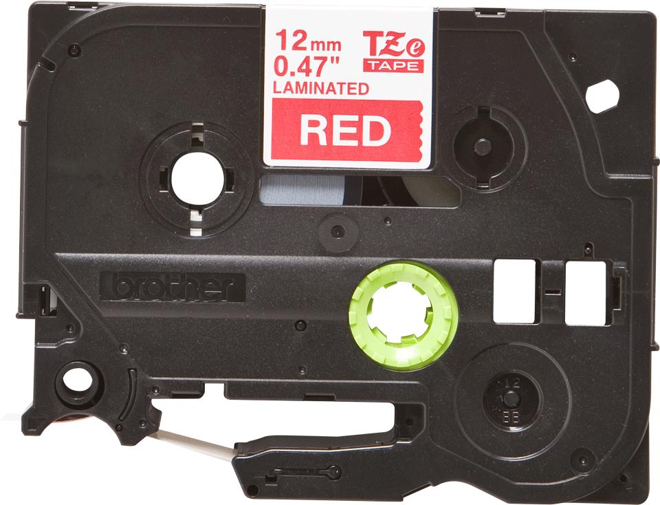 Originální kazeta s páskou Brother TZe-435 - bílý tisk na červené, šířka 12 mm