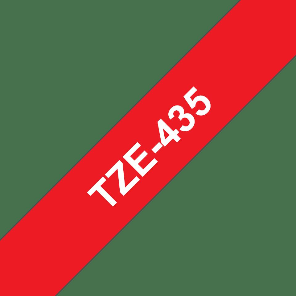 Originální kazeta s páskou Brother TZe-435 - bílý tisk na červené, šířka 12 mm 3