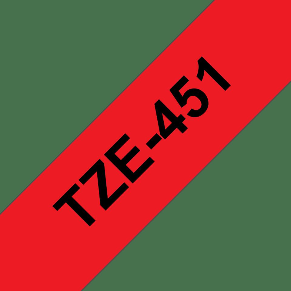 Originální kazeta s páskou Brother TZe-451 - černý tisk na červené, šířka 24 mm 3