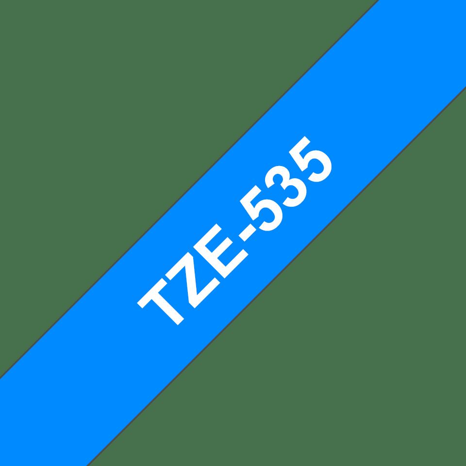 Originální kazeta s páskou Brother TZe-535 - bílý tisk na modré, šířka 12 mm
