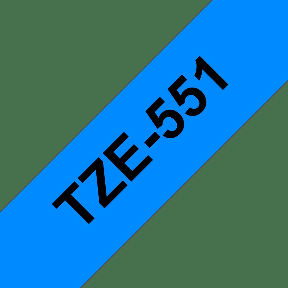 Originální kazeta s páskou Brother TZe-551 - černý tisk na modré, šířka 24 mm
