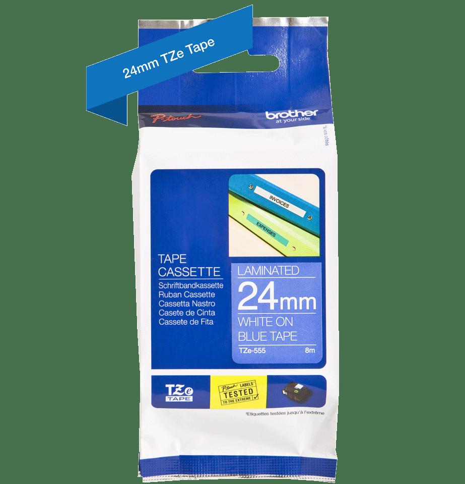 Originální kazeta s páskou Brother TZe-555 - bílý tisk na modré, šířka 24 mm 2
