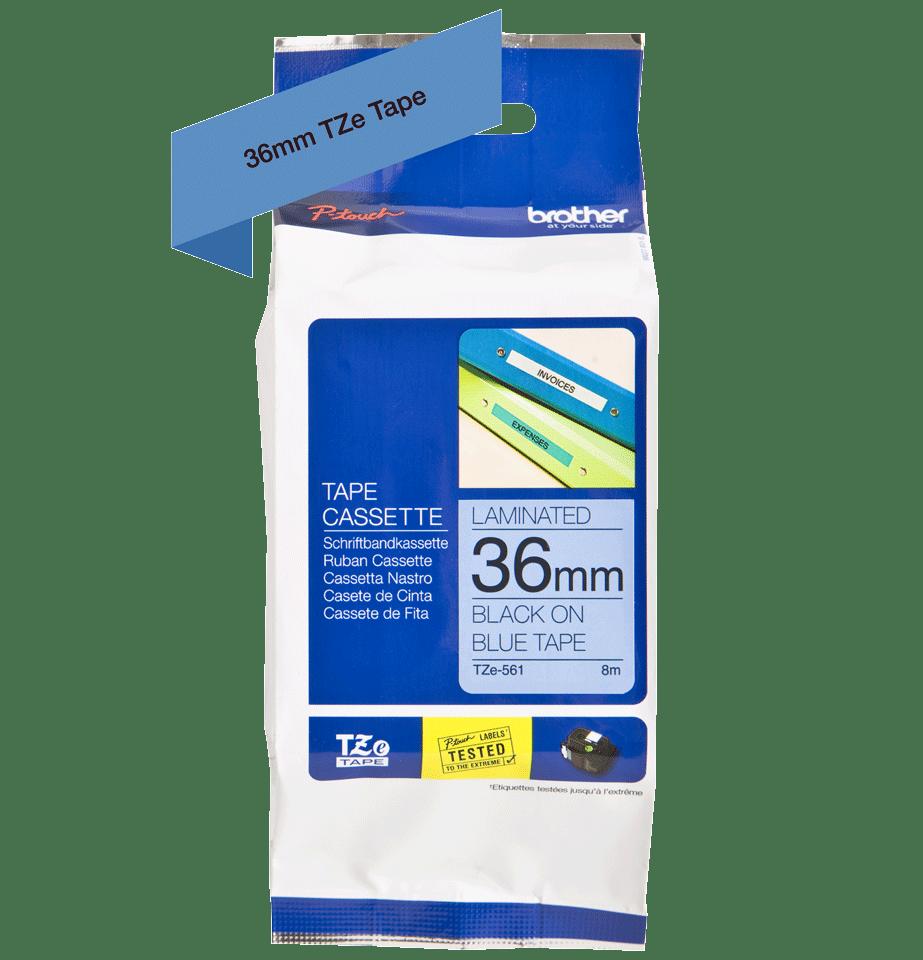 Originální kazeta s páskou Brother TZe-561 - černý tisk na modré, šířka 36 mm 2