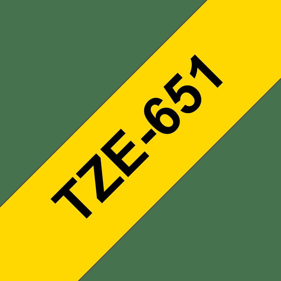 Originální kazeta s páskou Brother TZe-651 - černý tisk na žluté, šířka 24 mm 3