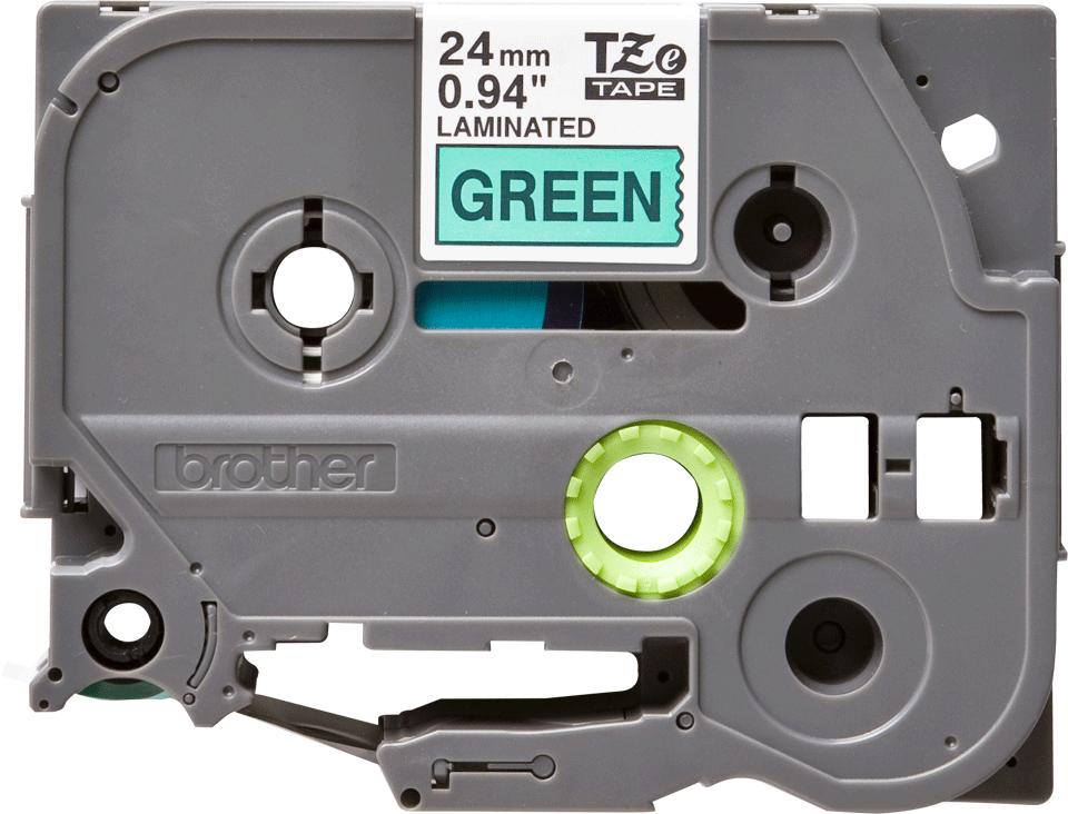Originální kazeta s páskou Brother TZe-751 - černý tisk na zelené, šířka 24 mm