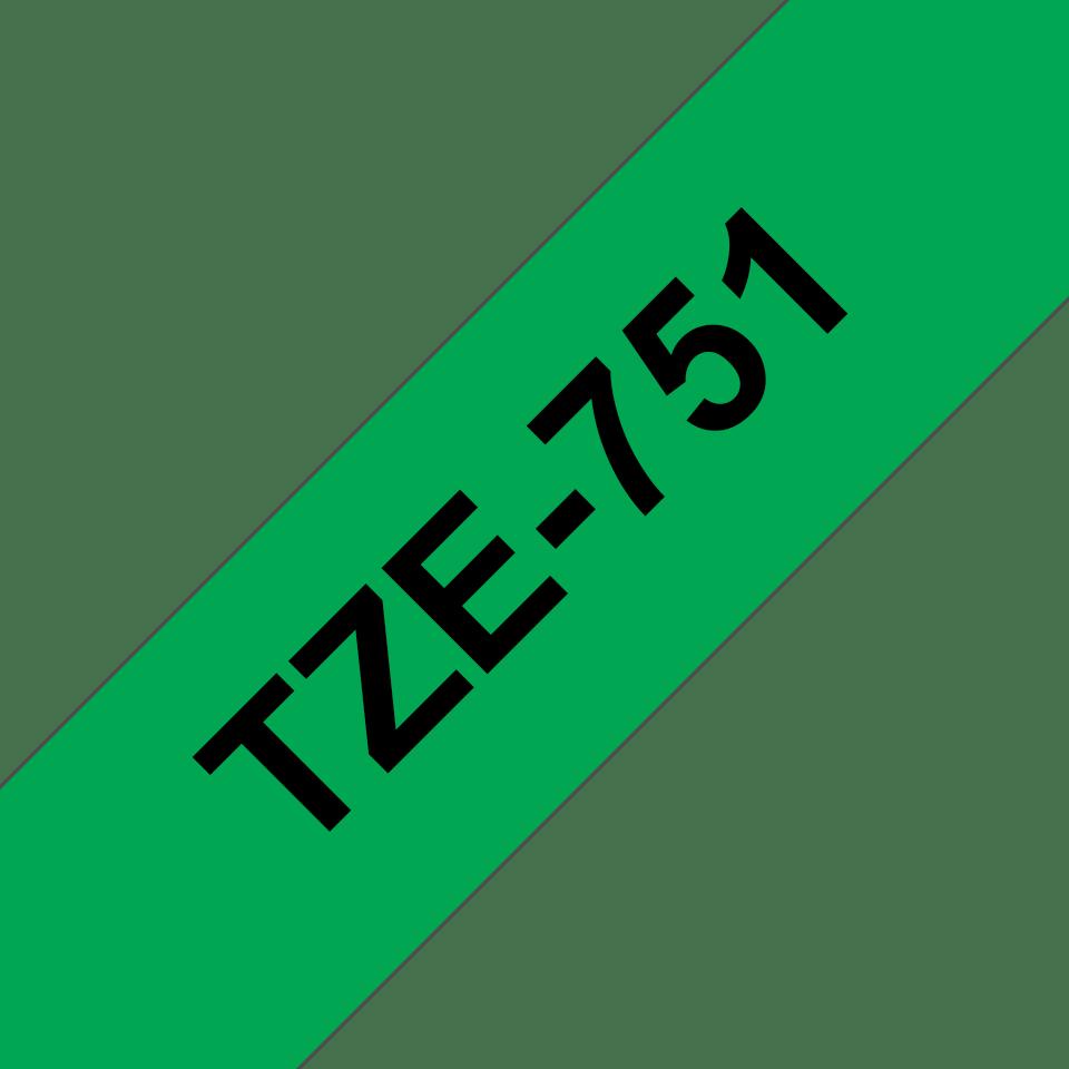 Originální kazeta s páskou Brother TZe-751 - černý tisk na zelené, šířka 24 mm 3