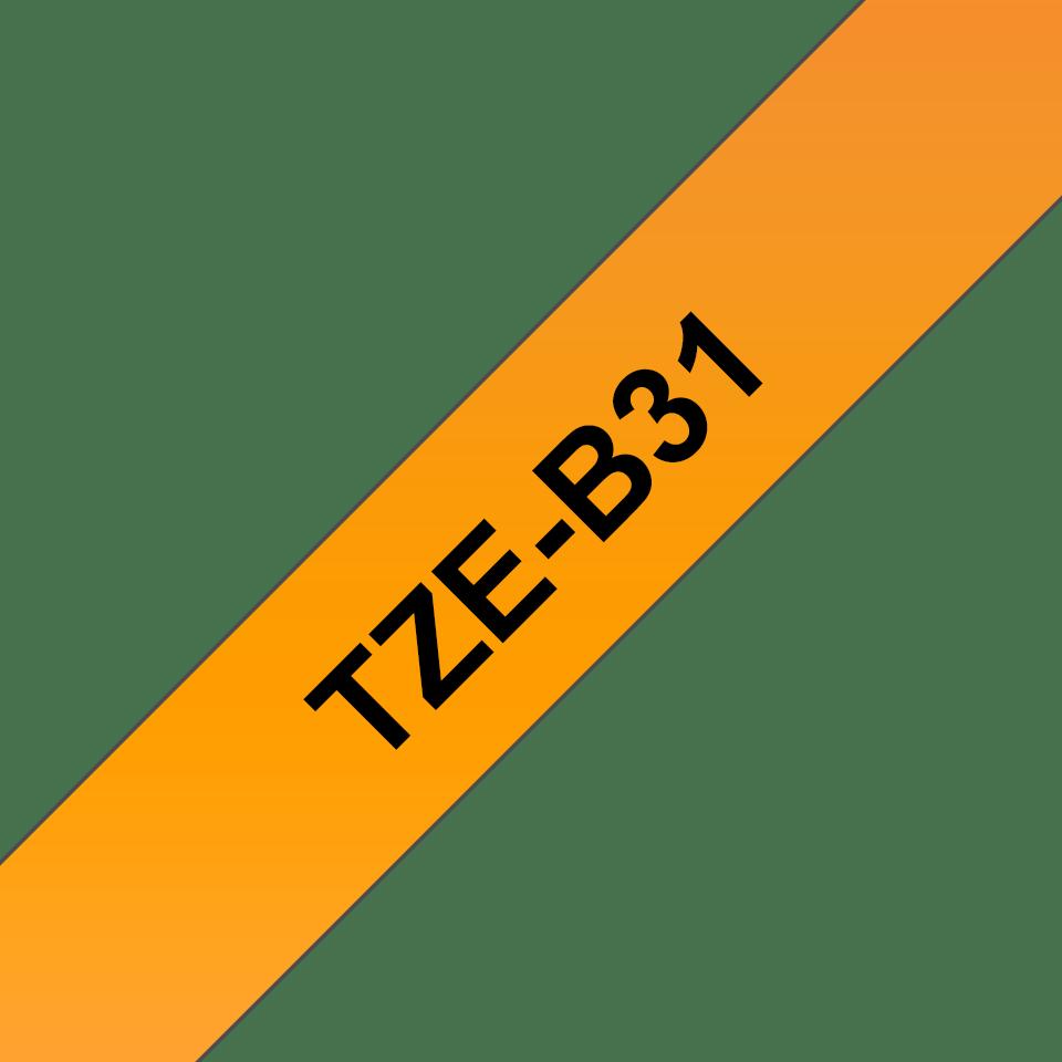 Originální kazeta s páskou Brother TZe-B31 - černý tisk na fluorescenční oranžové, šířka 12 mm