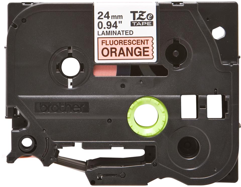 Originální kazeta s páskou Brother TZe-B51 - černý tisk na fluorescenční oranžové, šířka 24 mm