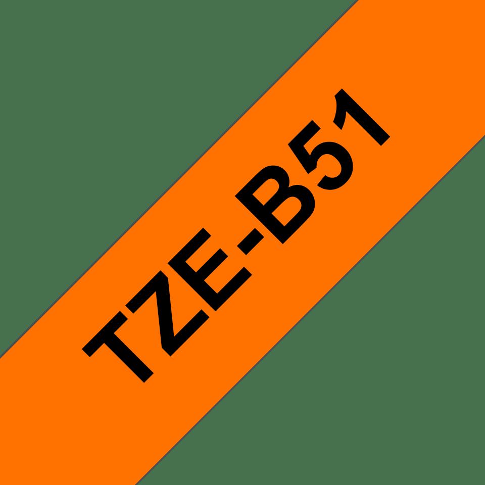 Originální kazeta s páskou Brother TZe-B51 - černý tisk na fluorescenční oranžové, šířka 24 mm 3