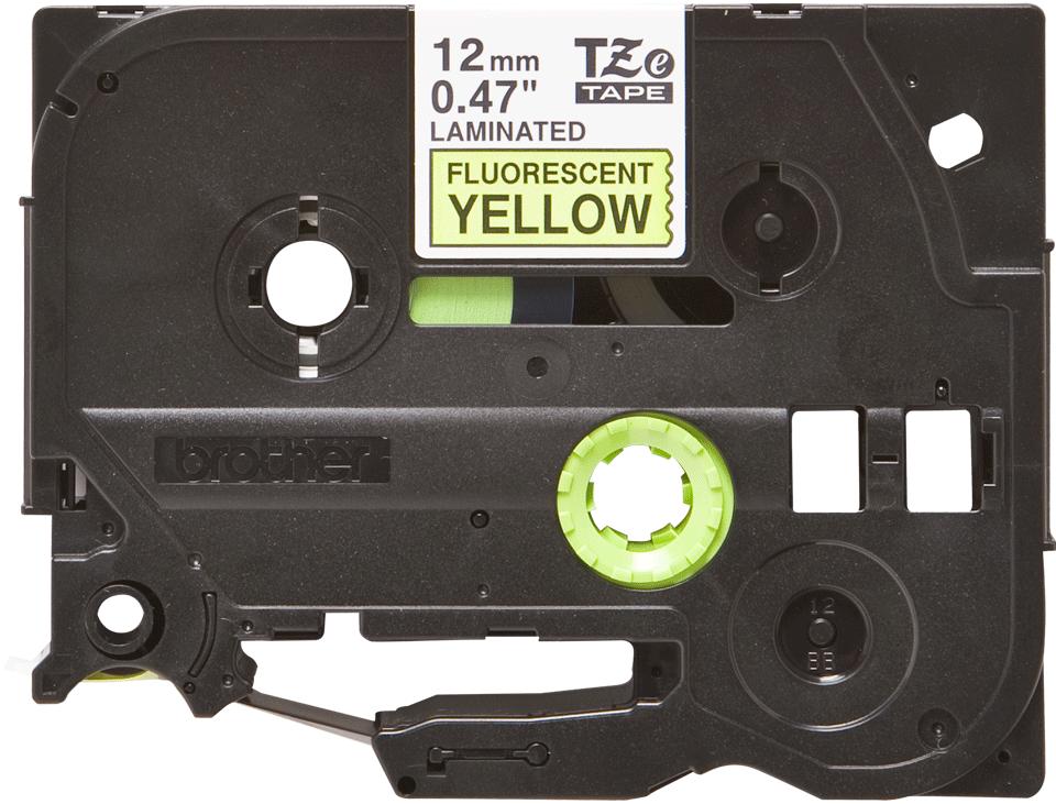 Originální kazeta s páskou Brother TZe-C31 - černý tisk na fluorescenční žluté, šířka 12 mm