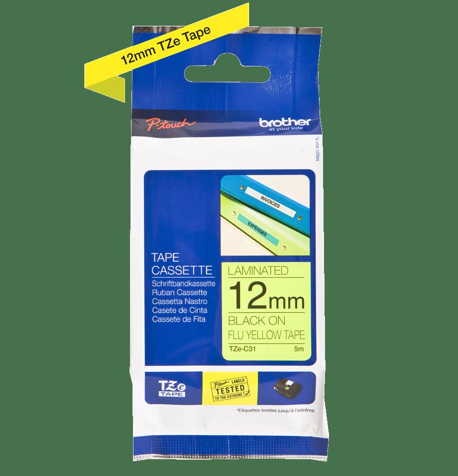 Originální kazeta s páskou Brother TZe-C31 - černý tisk na fluorescenční žluté, šířka 12 mm 3