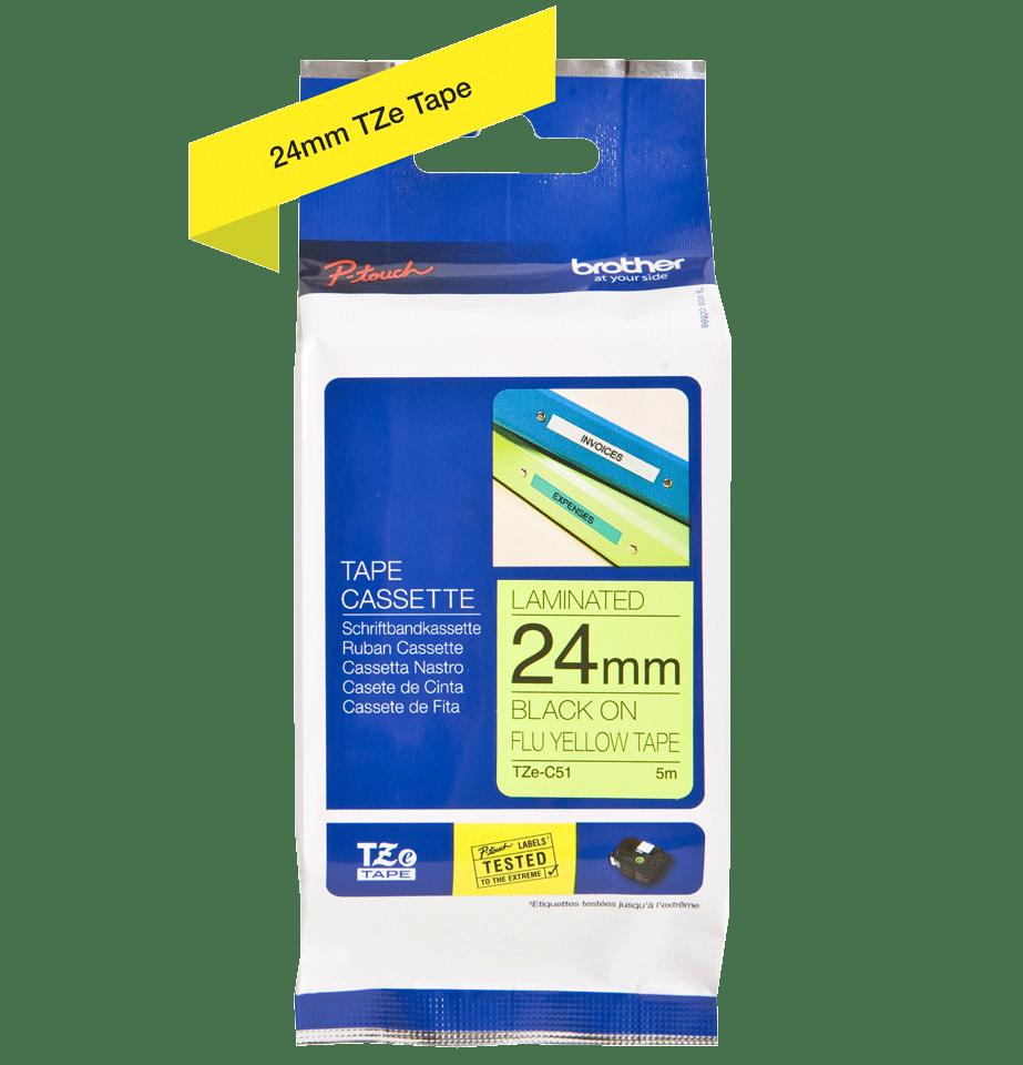Originální kazeta s páskou Brother TZe-C51 - černý tisk na fluorescenční žluté, šířka 24 mm 2
