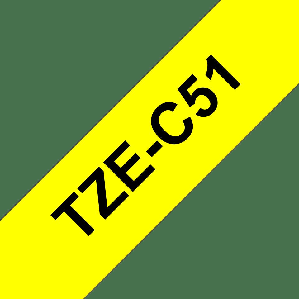 Originální kazeta s páskou Brother TZe-C51 - černý tisk na fluorescenční žluté, šířka 24 mm 3