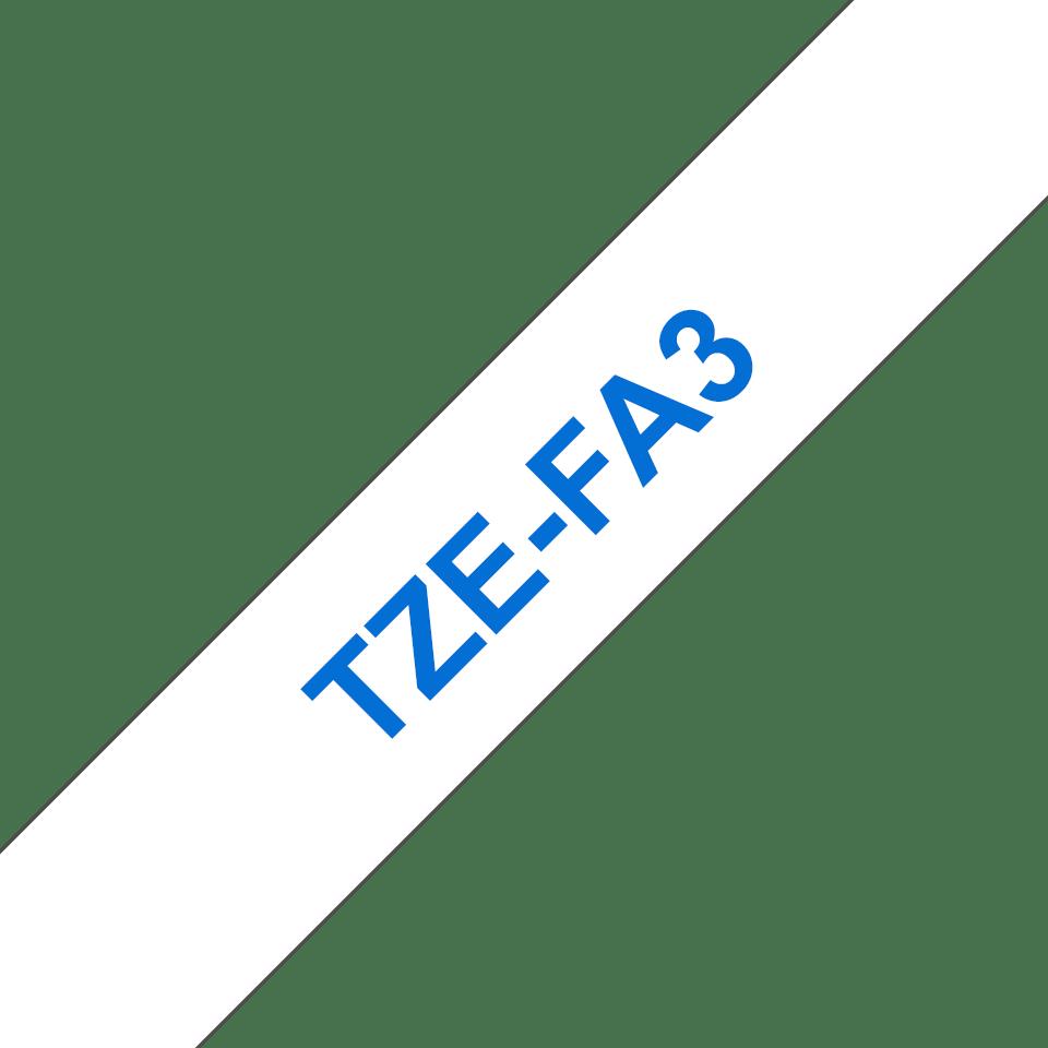 Originální kazeta se zažehlovací páskou Brother TZe-FA3 - modrý tisk na bílé, šířka 12 mm 3