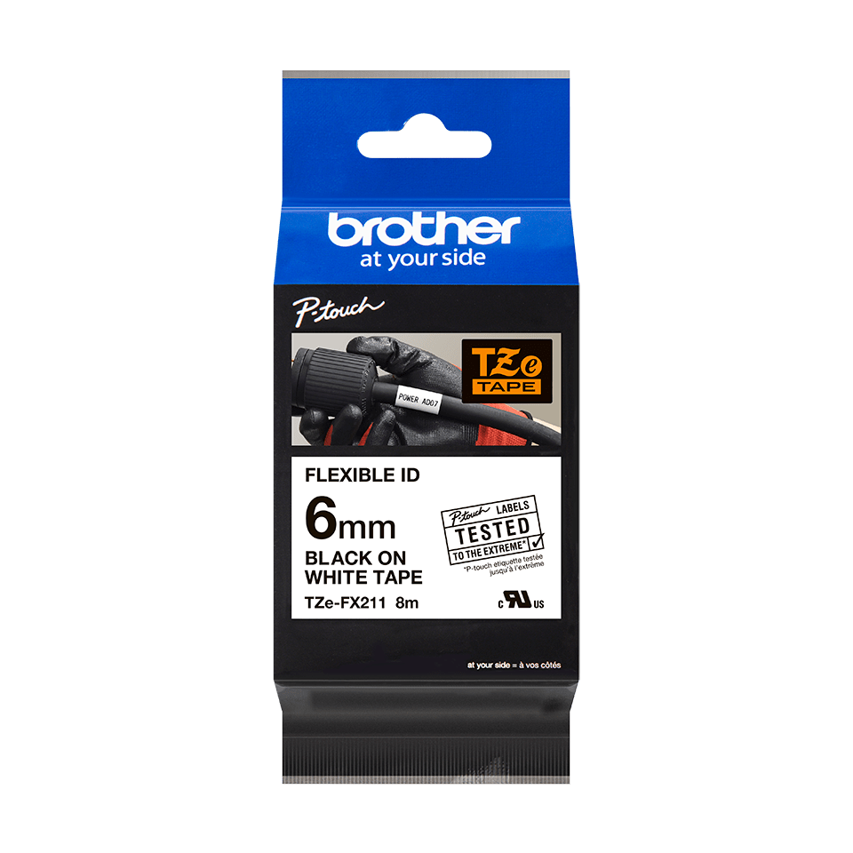 Originální kazeta s páskou Brother TZe-FX211 - černý tisk na bílé, šířka 6 mm 2