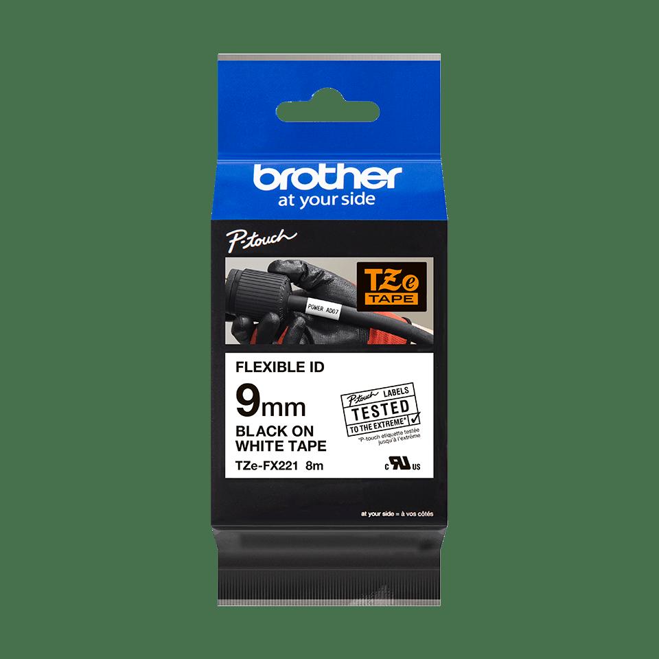 Originální kazeta s páskou Brother TZe-FX221 - černý tisk na bílé, šířka 9 mm 3
