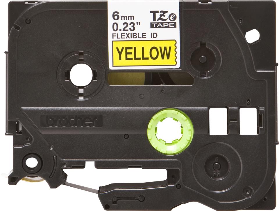 Originální kazeta s páskou Brother TZe-FX611 - černý tisk na žluté, šířka 6 mm 2