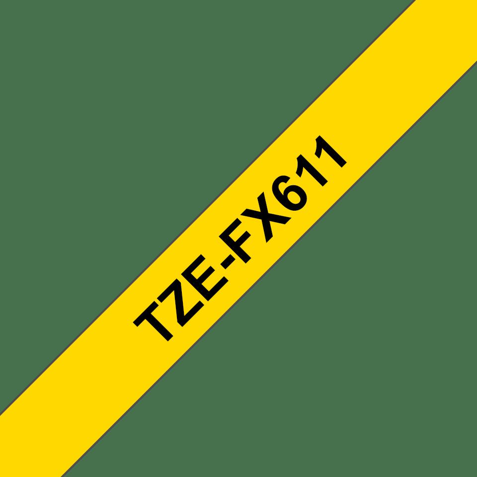 Originální kazeta s páskou Brother TZe-FX611 - černý tisk na žluté, šířka 6 mm 3