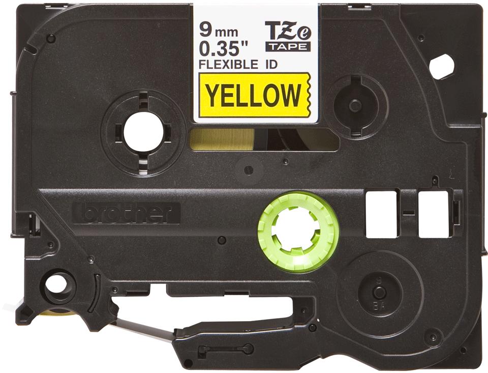 Originální kazeta s páskou Brother TZe-FX621 - černý tisk na žluté, šířka 9 mm