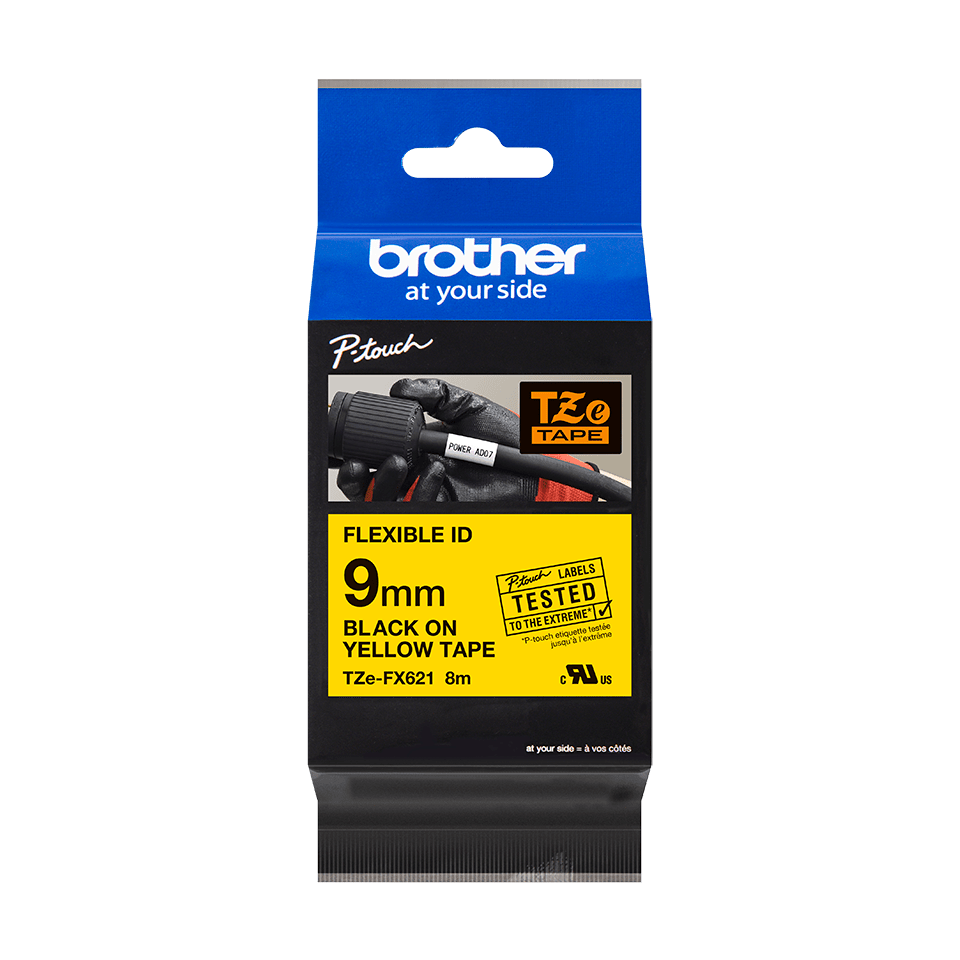 Originální kazeta s páskou Brother TZe-FX621 - černý tisk na žluté, šířka 9 mm 3